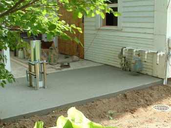Old school house renovation for Air conditioner pad concrete